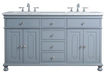 "60"" Abigail Double Sink Vanity, Marble Carrara White Top, Gray."