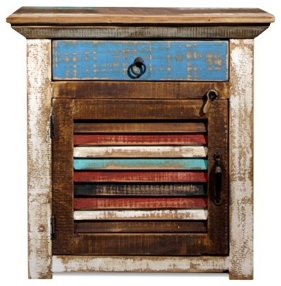 La Boca Rustic Solid Wood Nightstand Bedside Table With Storage.