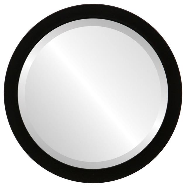 """Manhattan Framed Round Mirror In Matte Black, 15""""x15"""". -1"""