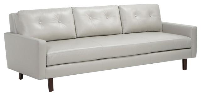 Brianna Modern Clic Wood Frame Gray Leather Tufted Back Sofa