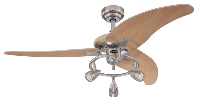 "Westinghouse 48"" Brushed Nickel 3-Blade Ceiling Fan With Lights."