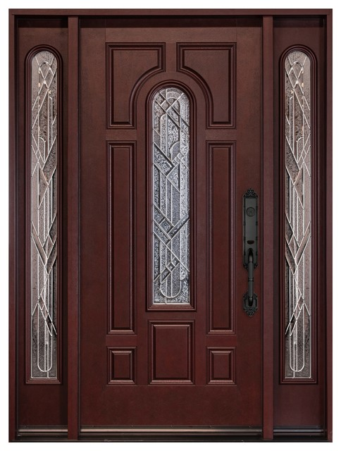 """Right-Hand Inswing Fiberglass Single Door With Two Sidelights, 12x36x80"""""""