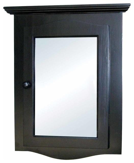 Black Solid Wood Corner Medicine Cabinet Recessed Mirror.