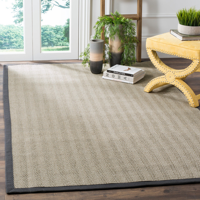 "Safavieh Hamina Natural Fiber Rug, Grey Brown And Grey, 2&x27;6""x12&x27;."