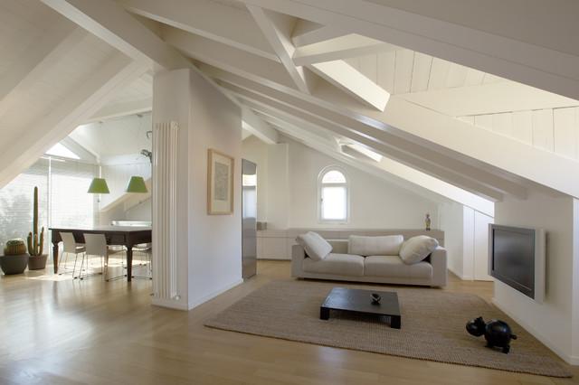 Casa m contemporaneo soggiorno milano di meregalli - Camera da letto rovere sbiancato ...