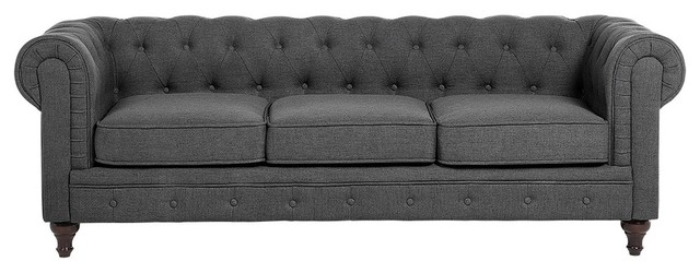 Superbe Chesterfield Tufted Fabric Sofa, Gray