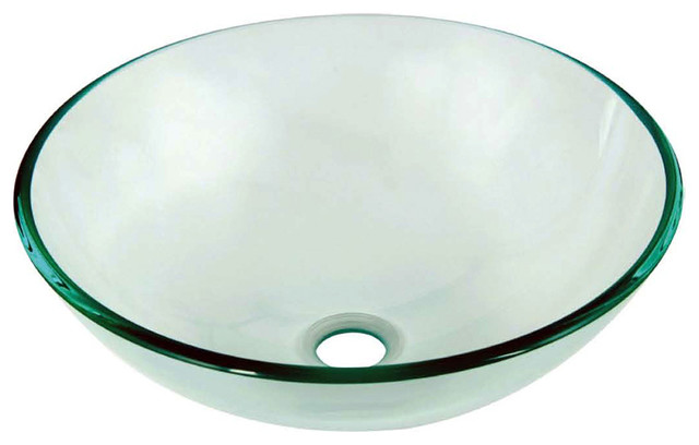 Dawn Tempered Gl Vessel Sink-Round Shape, Clear Gl ... on clear glass sink, clear kitchen counter, clear kitchen cabinets, clear bathroom sink,