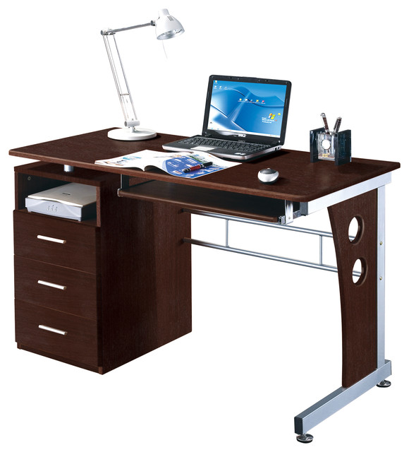 Computer Desk Contemporary computer desk with ample storage, chocolate - contemporary - desks