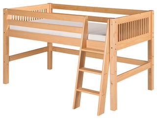 Camaflexi Twin, Low Loft Bed, Mission Headboard, Natural Finish