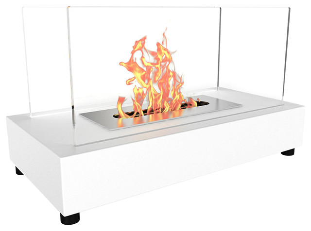 Regal Flame Avon Tabletop Portable Bio Ethanol Fireplace, White.