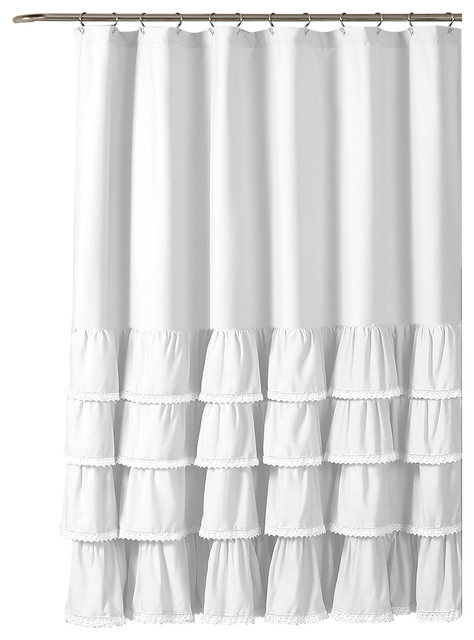 Charmant Ella Lace Ruffle Single Shower Curtain   Traditional   Shower Curtains   By  Lush Decor