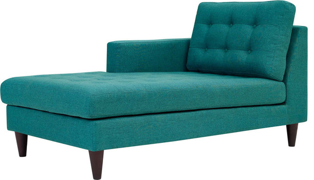 Miles Left-Arm Upholstered Fabric Chaise, Teal.