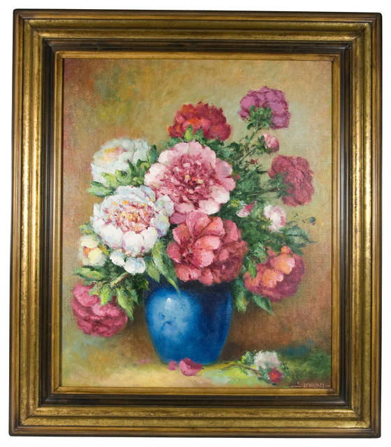 Consigned Flowers In A Blue Vase Still Life Oil Painting