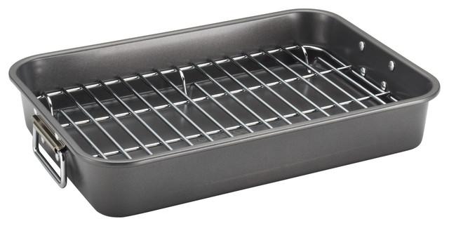 Farberware Nonstick Bakeware 11-Inch X 15-Inch Roaster With Flat Rack, Gray.