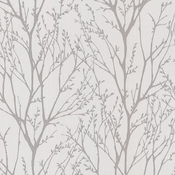 Delamere Pewter Tree Branches Wallpaper Bolt.