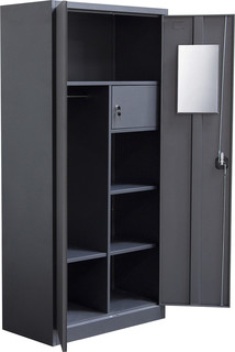 2-Door Metal Closet With Safe and Mirror With Key Lock ...