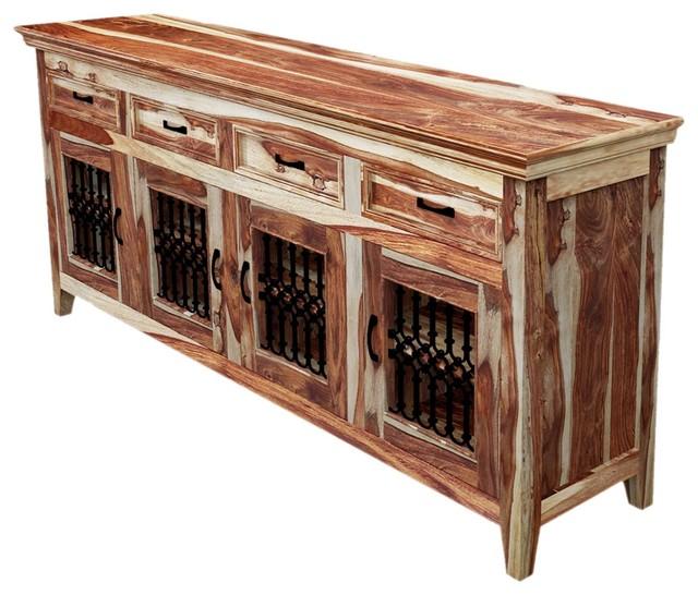 Rustic Dallas Solid Wood Sideboard 4 Door Buffet
