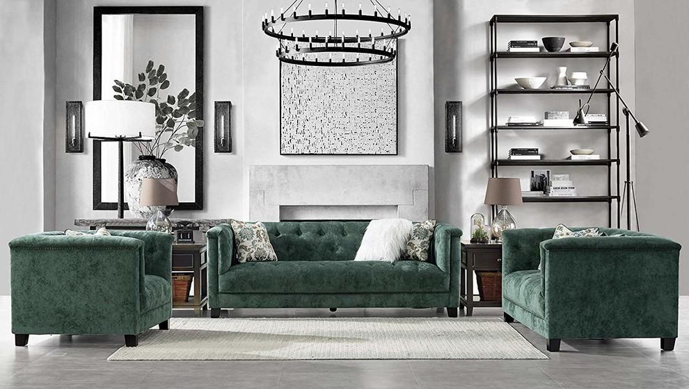 Acanva Luxury Mid Century Modern Living Room Sofa Set Light Grey 3 Piece Sareg Com