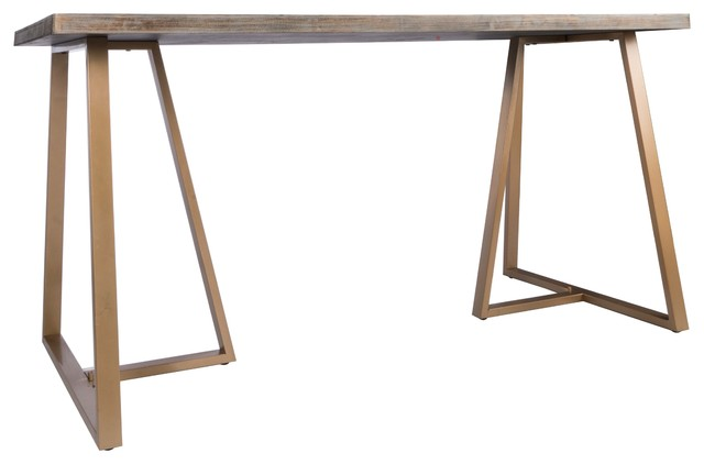Robbie Wood Desk With Gold Legs