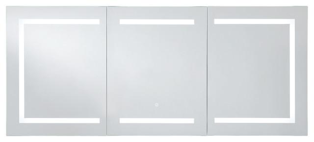 "60""x26"" Kent Medicine Cabinet with LED Lighting and Defogger, Socket"