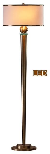 "Artiva USA Venetian 63"" LED Floor Lamp With Dimmer, Antique Satin Brass"