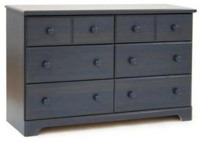Wood Finish 6 Drawer Bedroom Dresser.