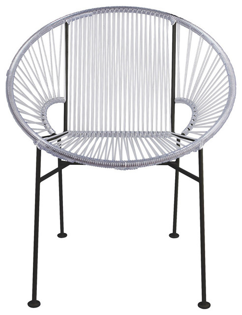 Concha Vinyl Cord Chair With Black Frame Clear
