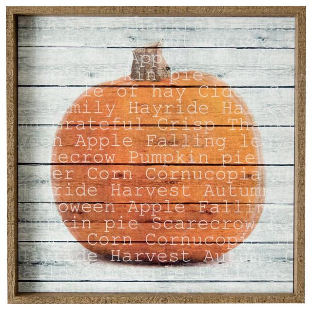 """""""harvest Pumpkin"""" Framed Art 25.5""""x25.5""""."""