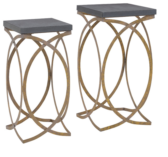 Set Of Two Concrete Like Gold Nesting Tables.
