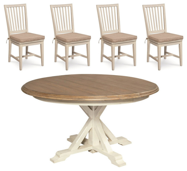 Coastal Beach White Oak Round Dining Room Set Beach