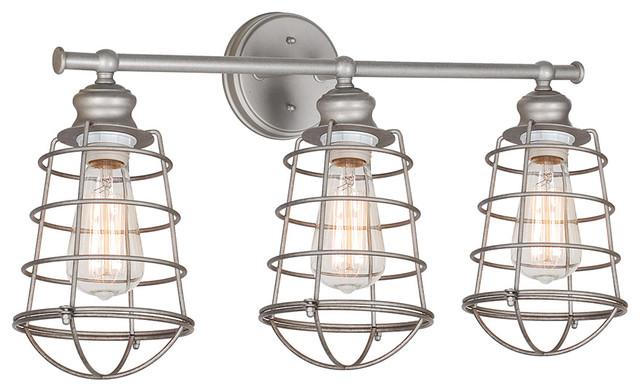 Shop Millennium Lighting 3 Light Neo Industrial Rubbed: Jethro 3-Light Caged Vanity Fixture