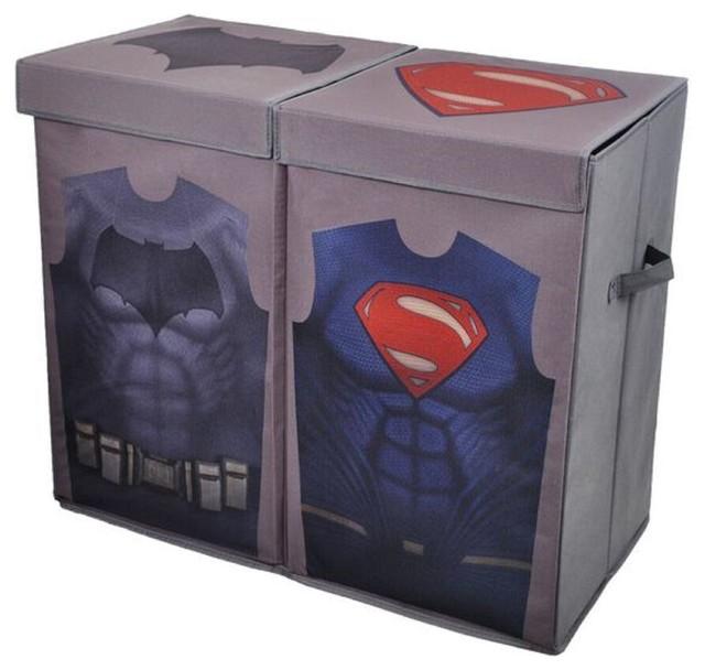 Batman vs superman gray uniform folding double laundry bin modern hampers by modern littles - Batman laundry hamper ...