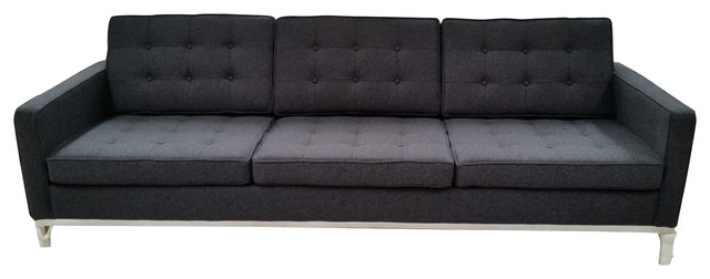 mad men style sofa in wool dark gray sofas - Mad Men Sofa