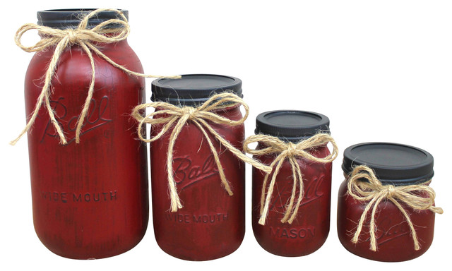Barn Red Painted Mason Jar Canisters, 4 Piece Set Farmhouse Kitchen  Canisters