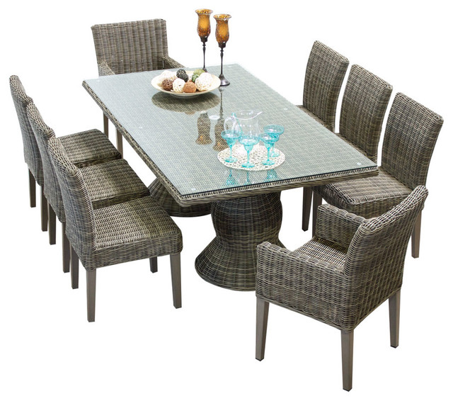 Royal Outdoor Dining Table With Chairs, 9 Piece Set, Without Cushions  Tropical