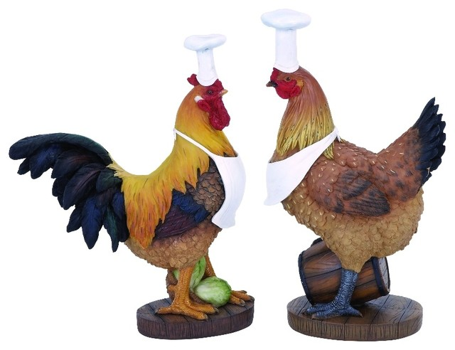 Nostalgic Rooster Chef Statue Style 2 Piece Set Accent Kitchen Decor 20605