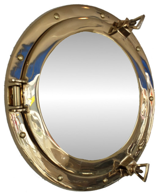 Brass porthole mirror beach style wall mirrors by for Porthole style mirror