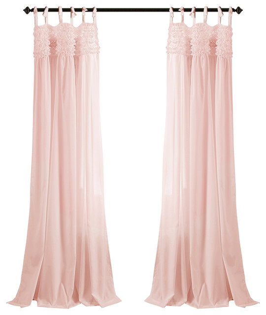 Lydia Ruffle Window Panel Pair, Blush.
