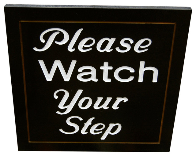 ivys wood creations please watch your step stake sign