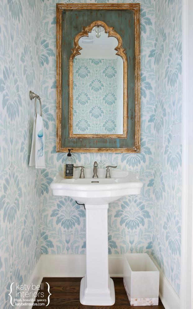 Patterned Blue Grasscloth Powder Room