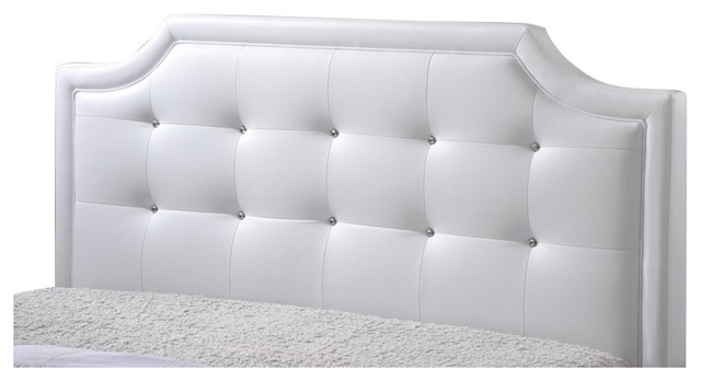 Carlotta White Modern Bed With Upholstered Headboard Queen Size