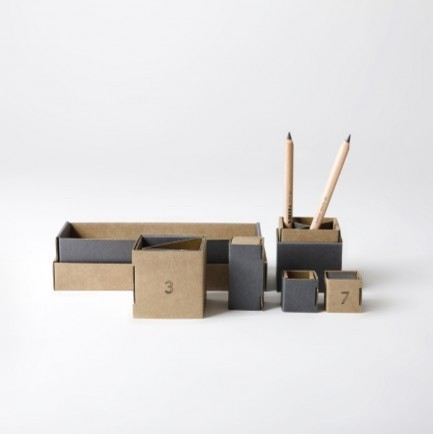 Cardboard Desk Tidy Gray Modern Desk Accessories by