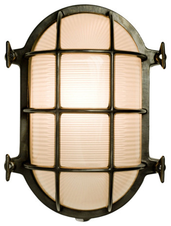 Industrial Style Oval Bulkhead Light, Weathered Brass, Large