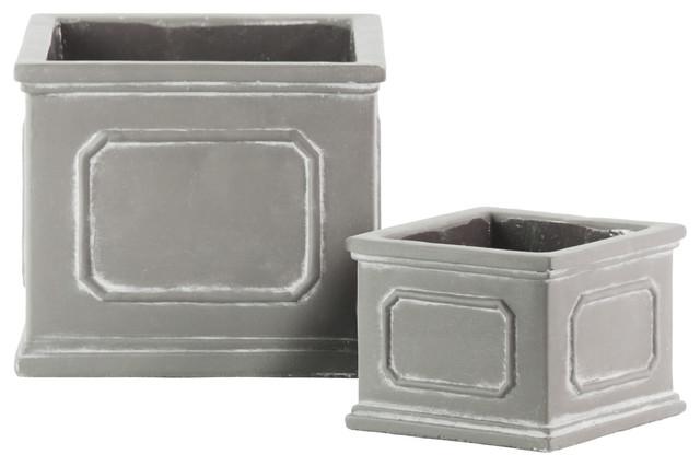 Cement Square Planter Boxes Painted Finish Gray 2 Piece Set