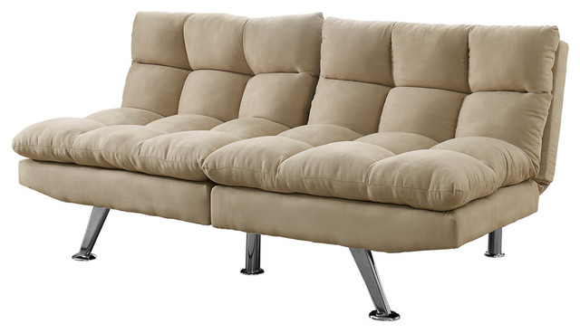 Monarch Split Back Click Clack Futon Light Taupe Micro Suede
