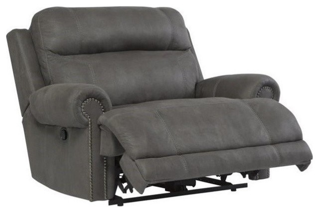 Ashley Austere Faux Leather Zero Wall Recliner, Gray.