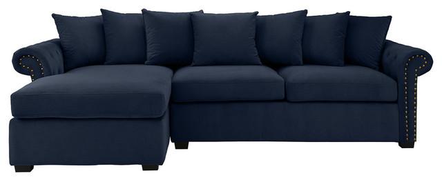 Traditional Modern L-Shape Sectional Sofa, Velvet Fabric, Navy