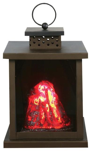 Led Volcano Lantern Battery Operated Indoor Black Metal Accent Lamp Nightligh