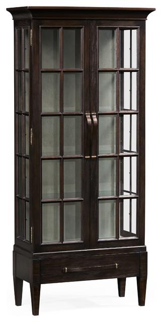 Tall Dark Ale Plank Glazed Display, Tall Curio Cabinet