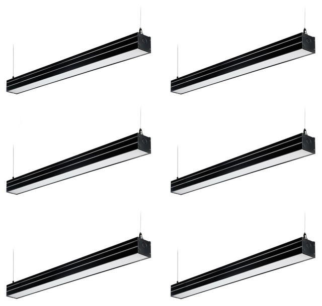 4ft Dimmable LED Suspension Linear Light, UL & DLC Listed, Black, 6PCS